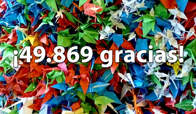 ¡49.869 origamis! ¡49.869 euros!